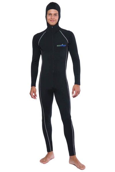 Men UV Protection Stinger Swimsuit With Hood Dive Skin UPF50+ Black Silver Stitch (Chlorine Resistant)