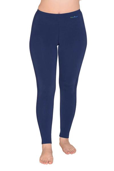Women Sun Protection Swim Tights Full Leggings Length UPF50+ Navy (Chlorine Resistant)