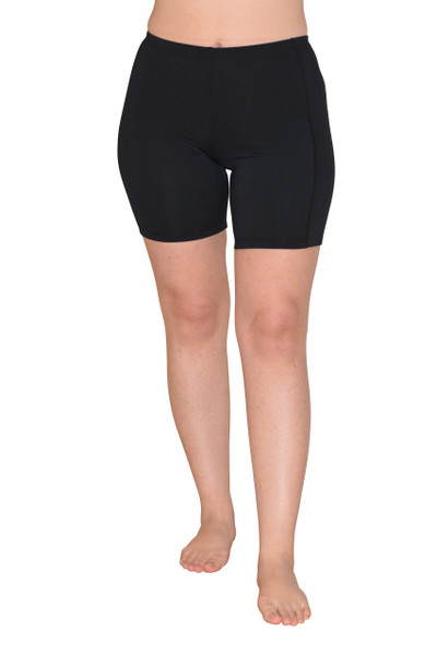 Women UV Protective Swim Shorts Above Knee Length UPF50+ Black (Chlorine Resistant)