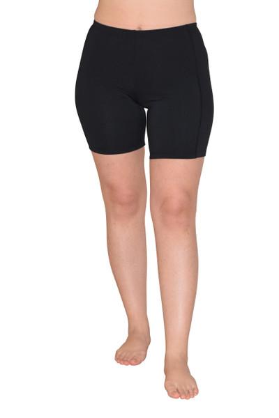 Women UV Protective Swim Shorts Above Knee Length UPF50+ Black (Chlorine Resistant)