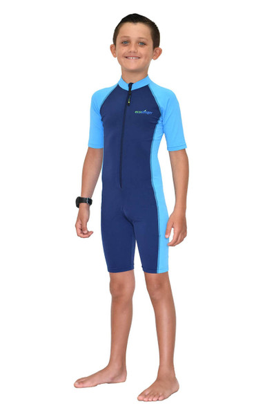 Boys Sunsuit One Piece Swimwear Sun Protection UPF50+ Navy Blue (Chlorine Resistant)