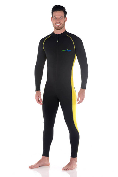 Men Full Body Swimsuit Sun Guard Stinger Suit Dive Skin UPF50+ Black Yellow (Chlorine Resistant)
