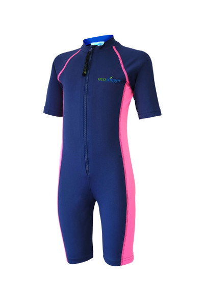Girls Junior One Piece Sunsuit UV Protection Swimsuit UPF50+ Navy Pink (Chlorine Resistant)