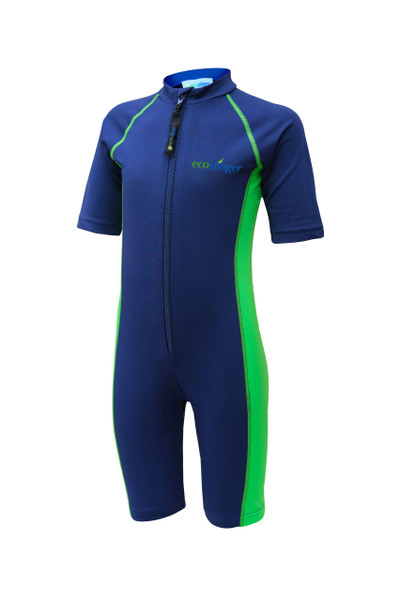 Kids Junior Sunsuit One Piece Sun Protection Swimwear UPF50+ Navy Lime (Chlorine Resistant)