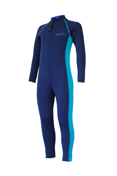 Boys Junior Full Body Swimsuit Stinger Suit UV Protection UPF50+ Navy Turquoise (Chlorine Resistant)