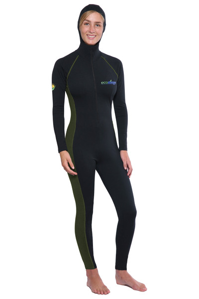 Women Full Body Swimsuit With Hood and Pocket UPF50+ UV Protection (Chlorine Resistant) Black Military color combination