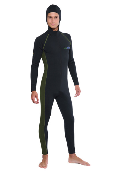 Men Stinger Suit Dive Skin With Hood and Arm Pocket UPF50+ UV Protection Black Military (Chlorine Resistant)