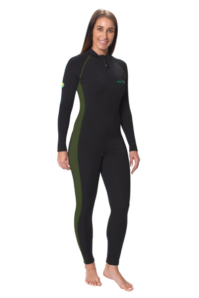 Women Full Body Coverup Swimsuit With Arm Pocket UPF50+ Sun Protection Black Military (Chlorine Resistant)