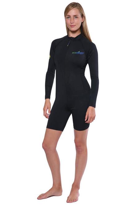 Women Sunsuit Bodysuit Long Sleeves UV Protection Swimwear UPF50+ Black (Chlorine Resistant)