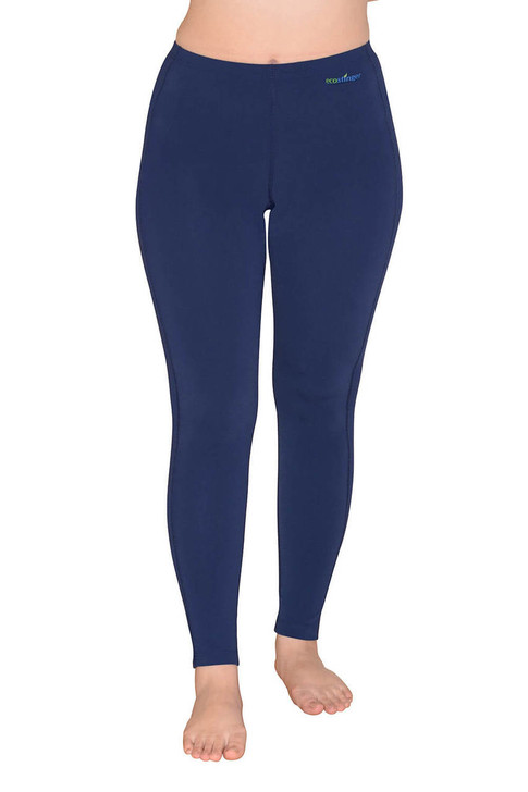 Women Sun Protection Swim Tights Full Leggings Length UPF50+ Navy (Chlorine Resistant)