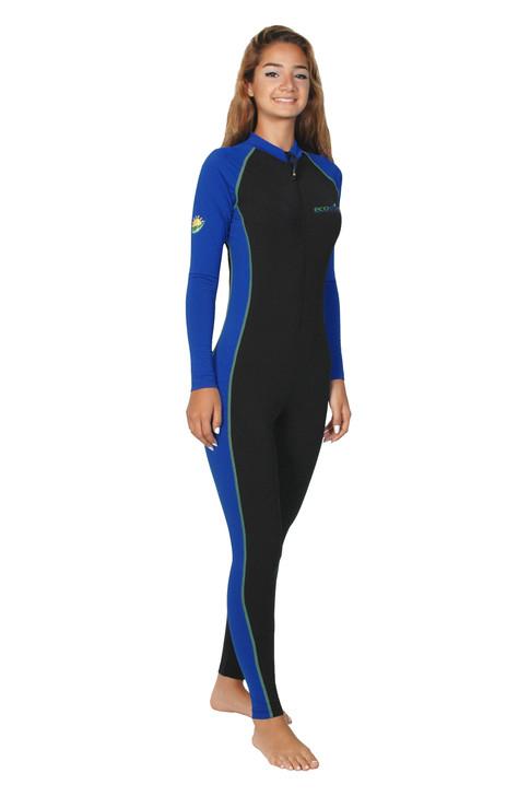 Women Full Body Cover Stinger Swimsuit UPF50+ Black Royal Lime (Chlorine Resistant)