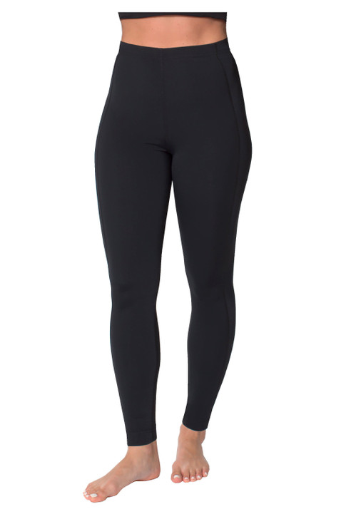 Women Swim Tight Full Legging High Waist UV Protective UPF50+ Black (Chlorine Resistant)