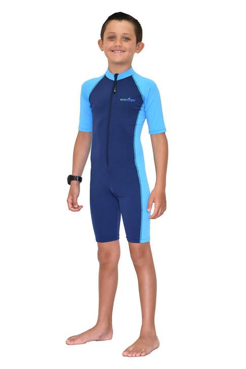 Boys Sunsuit One Piece Swimwear Sun Protection UPF50+ Navy Blue (Chlorine Resistant)