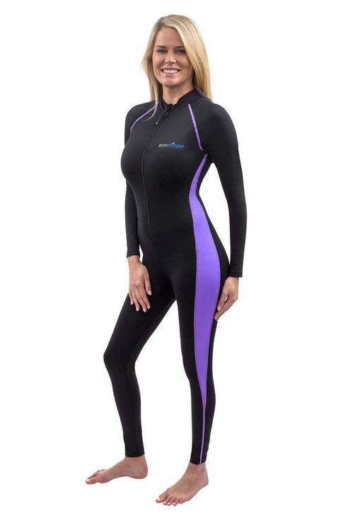 Women Full Body UV Swimsuit Stinger Suit Dive Skin UPF50+ Black Lavender (Chlorine Resistant)