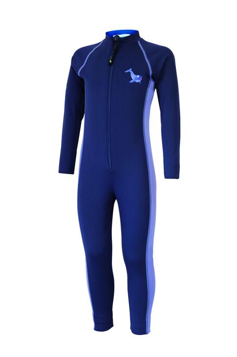 Girls Full Body Swimsuit Stinger Suit UV Protection UPF50+ Navy Lavender Dolphin (Chlorine Resistant)