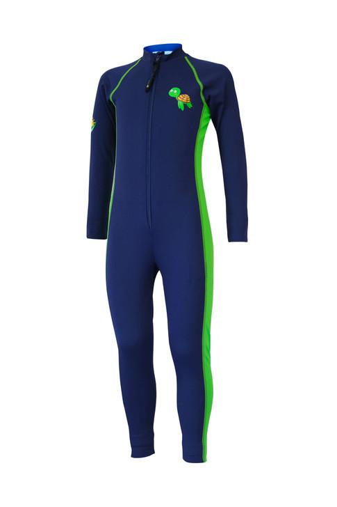 Kids Full Body Swimsuit Stinger Suit UV Protection UPF50+ Navy Lime Turtle (Chlorine Resistant)