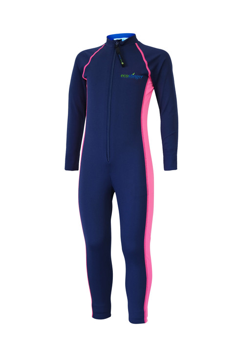 Girls Junior Full Body Swimsuit Stinger Suit UV Protection UPF50+ Navy Pink (Chlorine Resistant)