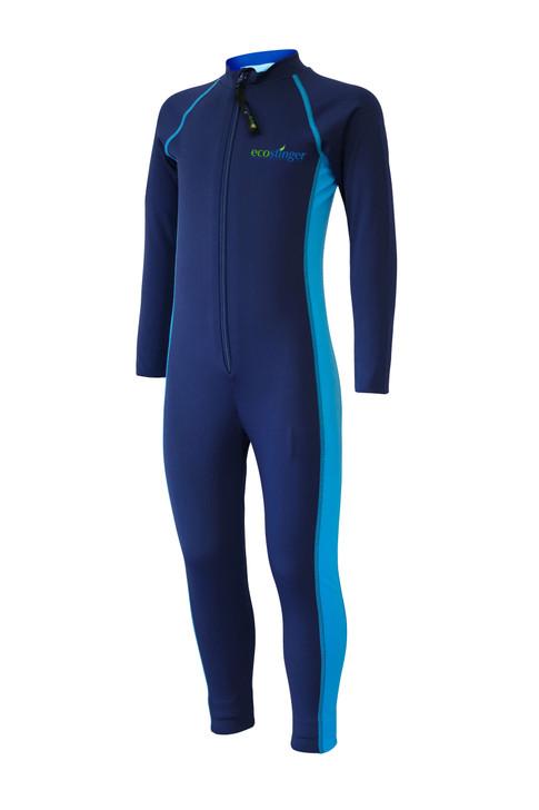 Boys Junior Full Body Swimsuit Stinger Suit Long Sleeves UV Protection UPF50+ Navy Blue (Chlorine Resistant)