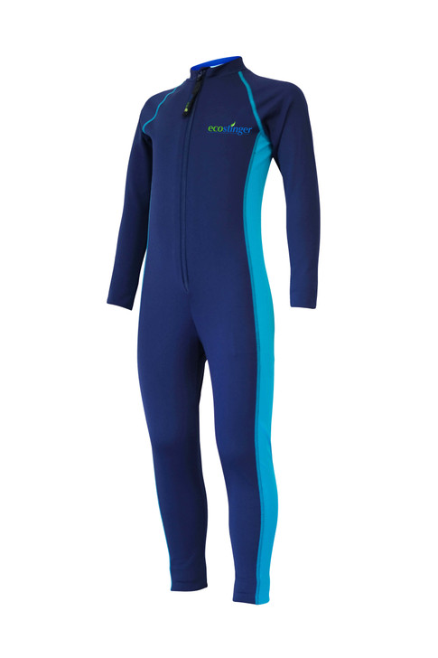 Boys Junior Full Body Swimsuit Stinger Suit UV Protection UPF50+ Navy Turquoise (Chlorine Resistant)