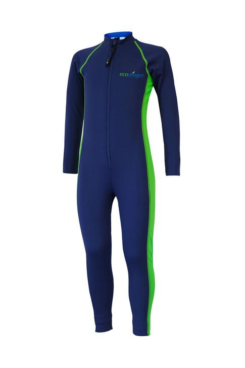 Kids Junior Full Body Swimsuit Stinger Suit UV Protection UPF50+ Navy Lime (Chlorine Resistant)
