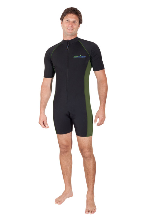 Men Sunsuit Bodysuit With Arm Pocket UV Protection Swimwear UPF50+ Black Military (Chlorine Resistant)
