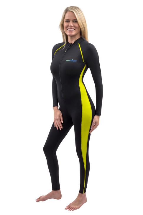 Women Full Body UV Swimsuit Stinger Suit Dive Skin UPF50+ Black Yellow (Chlorine Resistant)