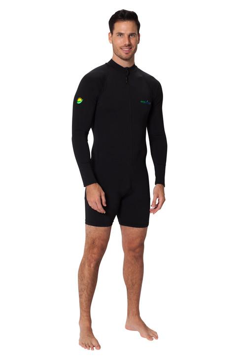 Men Sunsuit Long Sleeves UV Protection Swimwear UPF50+ Black (Chlorine Resistant)