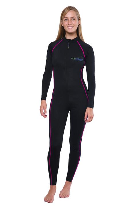 Women Full Body Cover Swimsuit UV Protection UPF50+ Black Pink Stitch