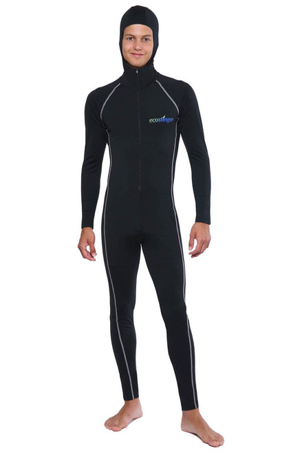 b27021cd4bd81 Men UV Protection Stinger Swimsuit With Hood Dive Skin UPF50+ Black Silver  Stitch (Chlorine Resistant) - EcoStinger