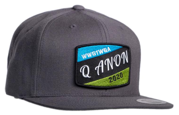 Q ANON wwg1wga 2020 Flat Brim Grey Cap