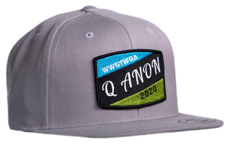 Q ANON wwg1wga 2020 Flat Brim Light Grey Cap