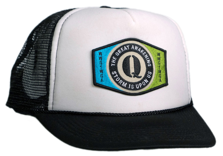 Q ANON Great Awakening Storm Upon Us Trucker Cap Black