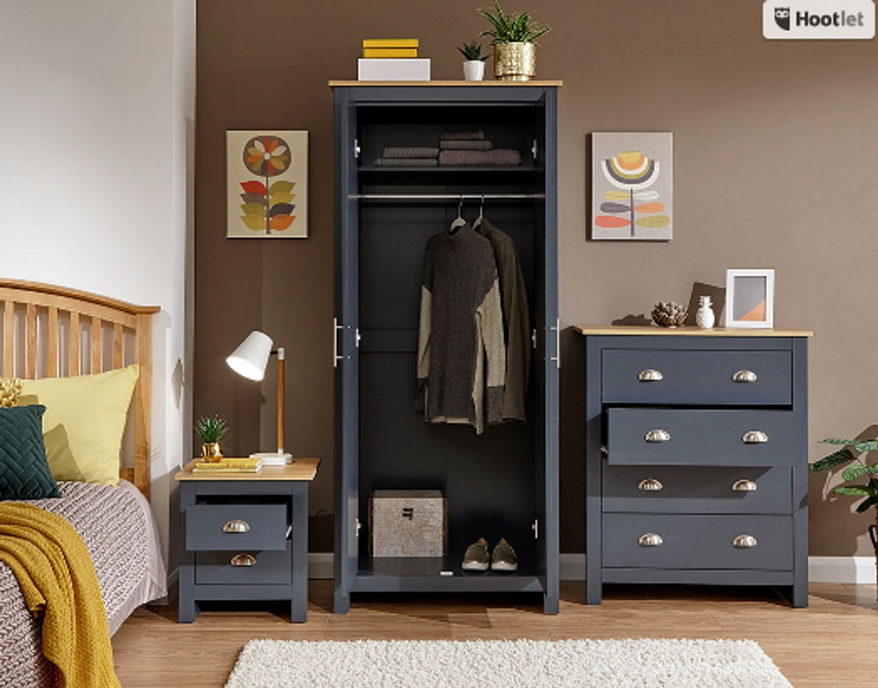 Gfw Lancaster 3 Piece Navy Blue Bedroom Set Free Delivery Own Furniture