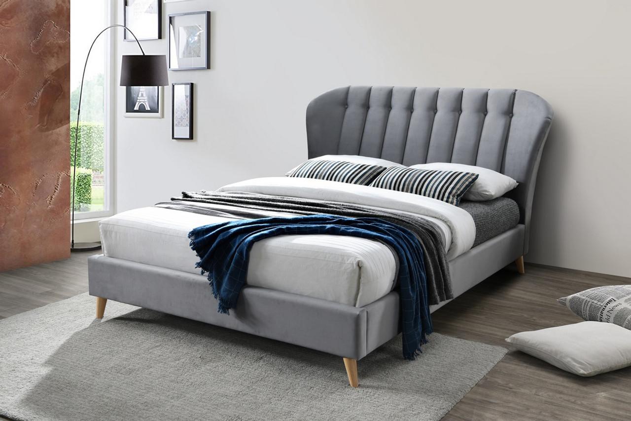 Elm Bed Frame Grey Velvet Free Delivery