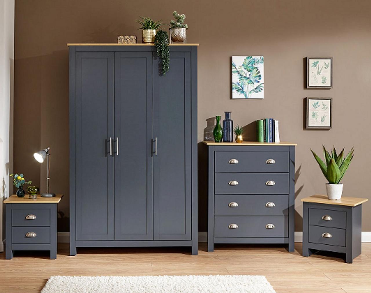 Lancaster 4 Piece Navy Blue Bedroom Set Free Delivery Own Furniture