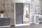 Lynx White & Grey 2 Door Sliding Wardrobe with Mirror