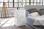 Lynx 3 Drawer Bedside Chest in White