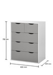 Alton Grey & White 3+2 Drawer Chest