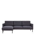 Larvik Charcoal Chaise End Left Hand Sofa with Black Legs