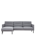 Larvik Grey Chaise End Left Hand Sofa with Black Legs