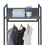 Zahra Open Wardrobe with 2 Drawers in Dark Grey