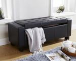 Verona Black Faux Leather Ottoman Bench