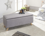 Secreto Grey Fabric Ottoman Bench