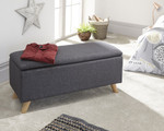 Secreto Charcoal Grey Fabric Ottoman Bench
