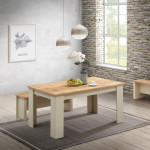 Lisbon Dining Table 150cm with 2 Benches & 2 Stools