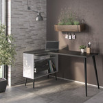 Oslo White and Black 2 Drawer Desk