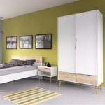 Oslo 2 Door 2 Drawer Wardrobe in White and Oak