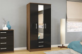 Lynx Walnut & Black 3+2 Wardrobe with Mirror