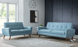 Monza Blue 2 Seater Fabric Sofa