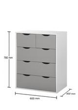 Alton Grey & White 3+2 Drawer Chest